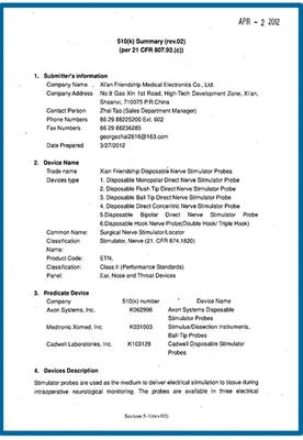 Disposable Nerve Stimulator Probe                  FDA Certificate